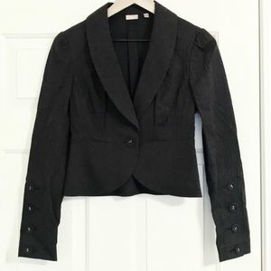 Halogen black pinstriped cropped blazer